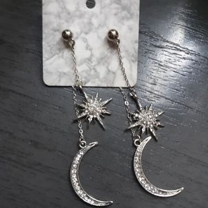 Star and moon dangle earrings